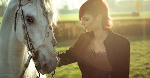 Redhead lady with white horse Stock Photos