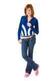 Redhead lindo en rebeca azul Imagenes de archivo