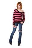 Redhead lindo en suéter rayado Fotografía de archivo