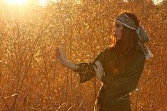 Redhead Model Amongst Wheat Fields in the Warm Sun Stock Photography