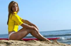 Redhead Model On The Beach Stock Image