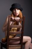 Redhead model in fur Royalty Free Stock Image