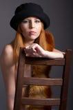 Redhead model in fur Royalty Free Stock Image