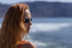 Redhead model on papagayo beach. Lanzarote, Canary Islands Stock Photos