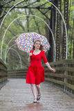 Redhead Model In The Rain Stock Photos