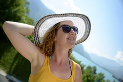 Redhead and natural woman in nature Stock Images