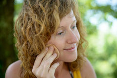 Redhead and natural woman in nature Royalty Free Stock Images