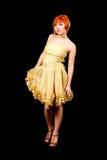 Redhead no vestido amarelo Foto de Stock Royalty Free