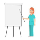 Redhead nurse points to flip chart. Illustration, redhead nurse points to flip chart, format EPS 10 royalty free illustration