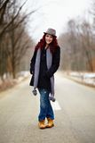 Redhead in outdoor full Royalty Free Stock Image