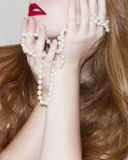 Redhead with Pearls Stock Photos