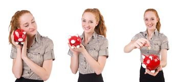 The redhead with piggybank isolated on the white. Redhead with piggybank isolated on the white Stock Images