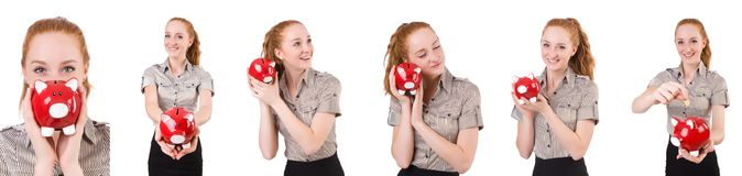 The redhead with piggybank isolated on the white. Redhead with piggybank isolated on the white Stock Photos