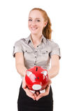 Redhead with piggybank Stock Photos