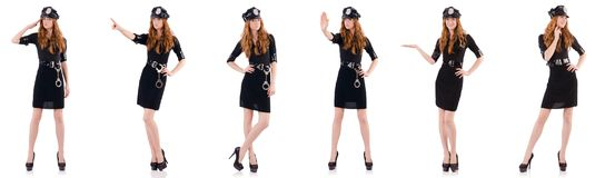The redhead police officer isolated on white. Redhead police officer isolated on white Stock Images
