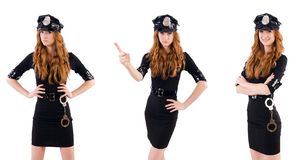 The redhead police officer isolated on white. Redhead police officer isolated on white Stock Image