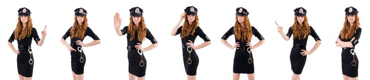 The redhead police officer isolated on white. Redhead police officer isolated on white Royalty Free Stock Image