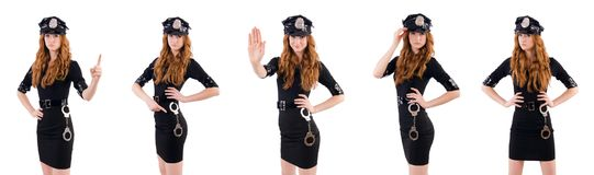 The redhead police officer isolated on white. Redhead police officer isolated on white Stock Photos