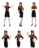 The redhead police officer isolated on white. Redhead police officer isolated on white Royalty Free Stock Photos