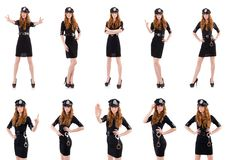The redhead police officer isolated on white. Redhead police officer isolated on white Royalty Free Stock Images
