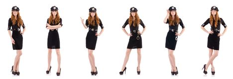 The redhead police officer isolated on white. Redhead police officer isolated on white Royalty Free Stock Photography