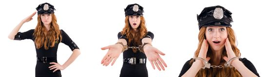 The redhead police officer isolated on white Stock Photography