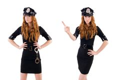 The redhead police officer isolated on white Royalty Free Stock Photography