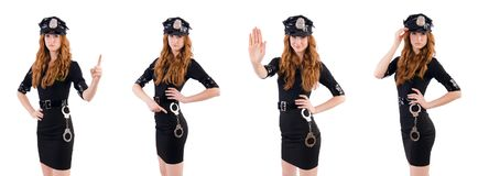 The redhead police officer isolated on white Stock Photos