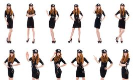The redhead police officer isolated on white. Redhead police officer isolated on white Stock Photography