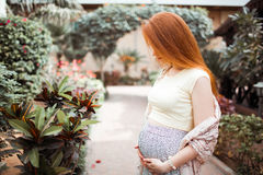 Redhead pregnant girl stroking her belly. On the background of the yard with plants. Summer Stock Photo