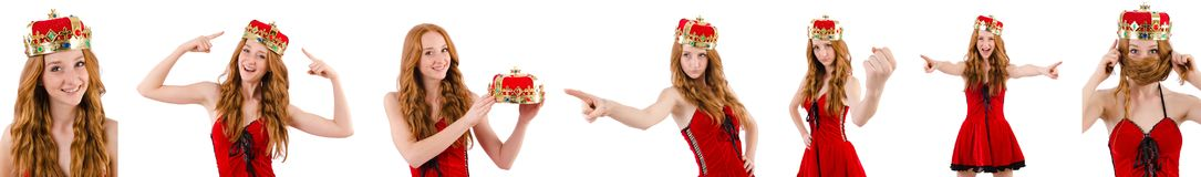 Redhead pretty  girl with crown pressing virtual buttons  isolat Stock Photos