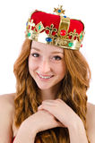 Redhead pretty girl in queen concept Stock Photography