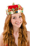 Redhead pretty girl in queen concept Stock Image