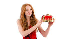 Redhead pretty girl in queen concept Royalty Free Stock Photos