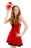 Redhead pretty girl in queen concept Stock Photos