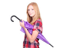 Redhead with purple umbrella stock image
