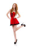 Redhead in red dress Royalty Free Stock Photo