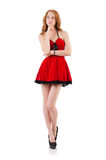 Redhead in red dress Royalty Free Stock Image