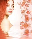 Redhead in rendered water. Picture of a Redhead in rendered water stock images