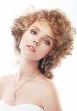 Redhead rerto female bride - wedding style stock photo