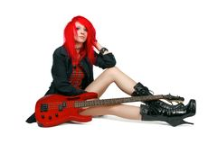 Redhead rocker girl Stock Photo