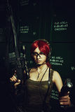 Redhead seductive soldier Royalty Free Stock Images