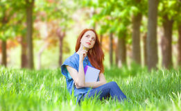Redhead smiling woman Royalty Free Stock Image