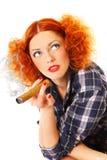 Redhead smoker Royalty Free Stock Image