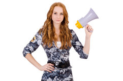 Redhead soldier. With loudspeaker on white Stock Photography