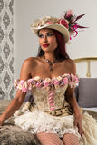 Redhead in a steampunk outfit Royalty Free Stock Photography