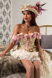 Redhead in a steampunk outfit Royalty Free Stock Photo