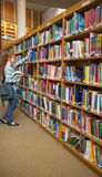 Redhead student taking a book from bookshelf in the library Royalty Free Stock Photos