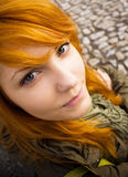 Redhead teen making goofy faces. Portrait of a redhead teen making goofy faces Stock Images
