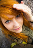 Redhead teen making goofy faces. Stock Photography